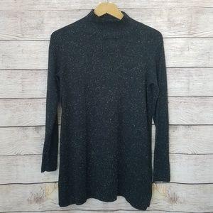 J JIll Black Flecked Mockneck Sweater XSP